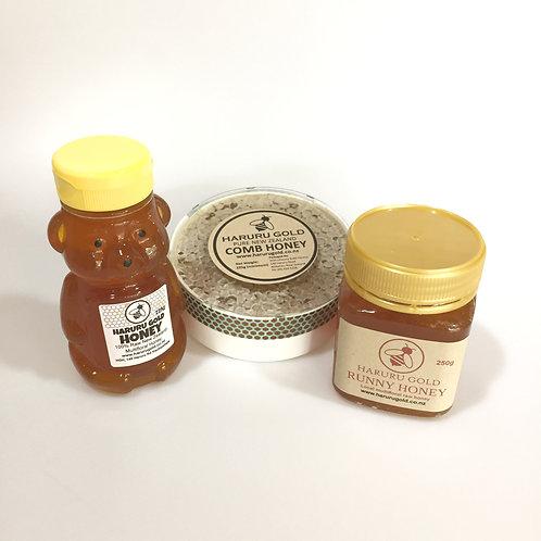 Family Pack - Comb Honey, Honey Bear and Runny Honey