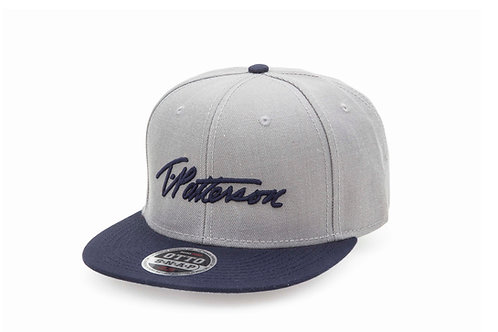 T.Patterson Navy Grey Signature Snap Hat