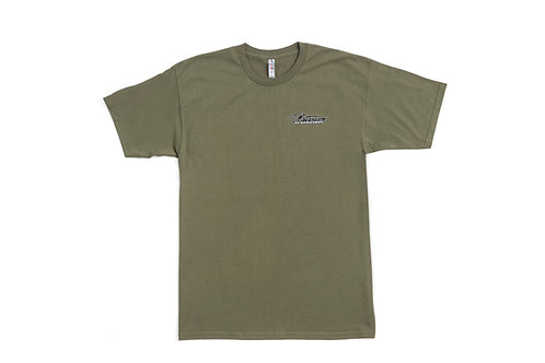 T.Patterson Surfboards Short Sleeve Army Green Logo Tee