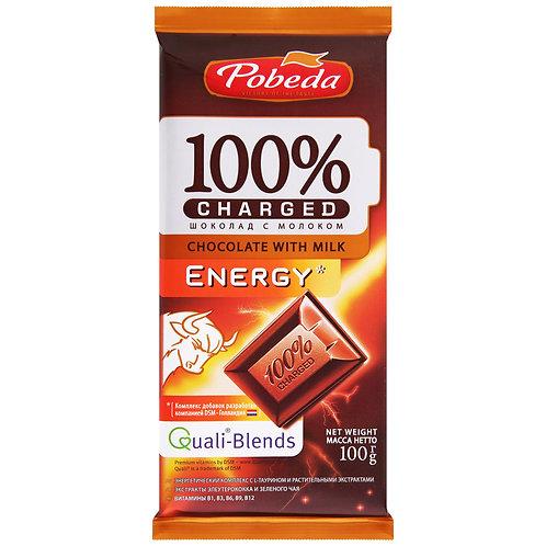 """Шоколад Молочный Energy с элеутерококком и зеленым чаем""""Pobeda"""" 100г"""