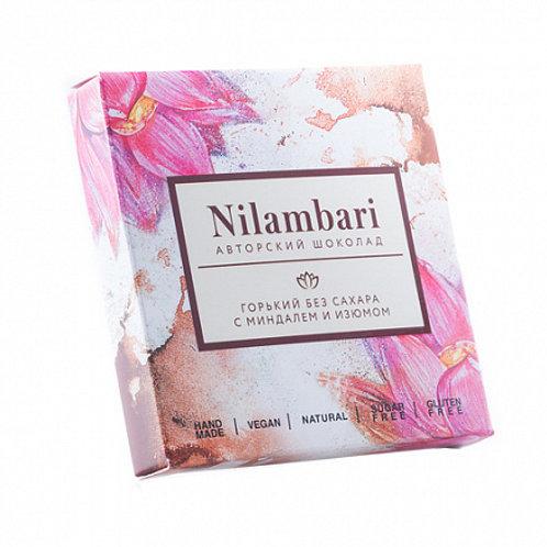 "Шоколад горький без сахара с миндалем и изюмом ""Nilambari"" 65г"
