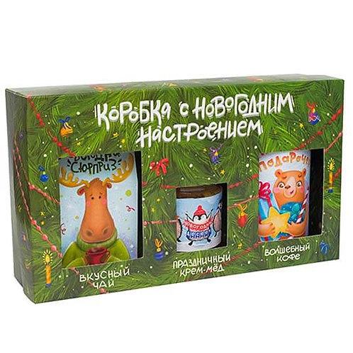 """Коробка с новогодним настроением """"Чай, крем-мед, кофе"""""""