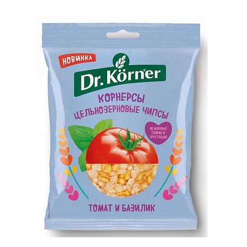 """Чипсы кукурузно-рисовые с томатом и базиликом  """"Dr korner"""" 100гр"""
