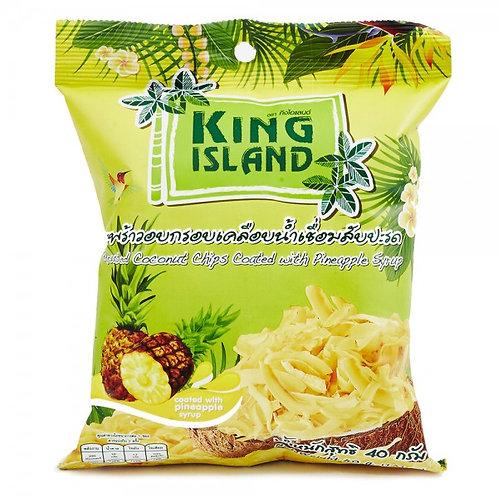 """Кокосовые чипсы в ананасной глазури """"KING ISLAND"""" 40г"""
