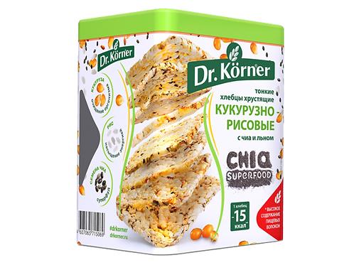 """Хлебцы кукурузно-рисовые с чиа и льном """"Dr korner"""" 100гр"""