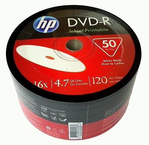 HP Blank DVD-R DVDR Recordable White Inkjet Printable 16X 4.7GB Media Disc