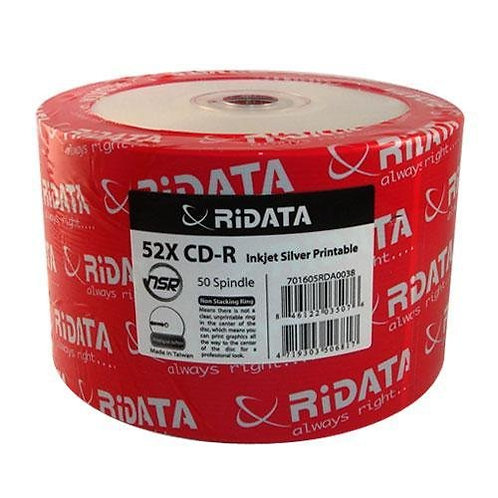 Ridata 52X 80-Min Silver Inkjet Hub/Silver CD-R's 50-Pack Shrink wrap