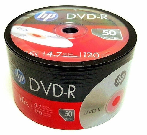 HP Blank DVD-R DVDR Recordable Logo Branded 16X 4.7GB Media Disc
