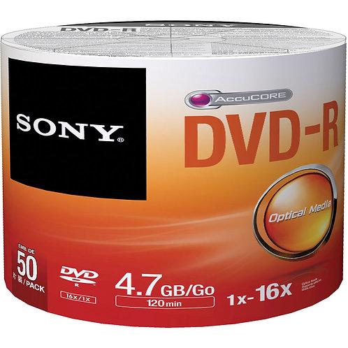 SONY Blank DVD-R DVDR Recordable Logo Branded 16X 4.7GB 120min Media Disc