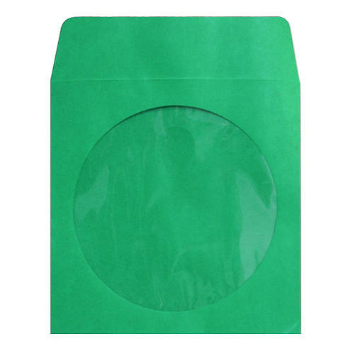 Green Color Paper Sleeves with Window and Flap Envelopes
