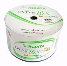 RITEK RIDATA Blank DVD-R DVDR White Inkjet Printable 16X 4.7GB Media Disc