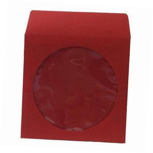 Red Color Paper Sleeves with Window and Flap Envelopes