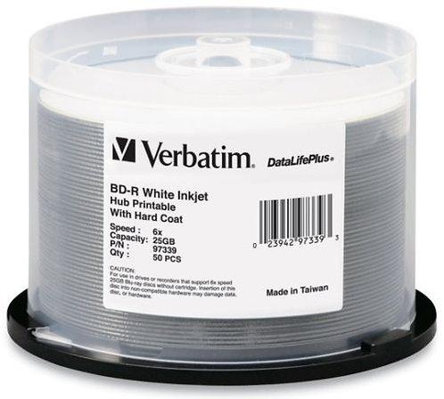 VERBATIM 50pk Blu-Ray BD-R 25GB 6X DataLifePlus White Inkjet Hub Printable