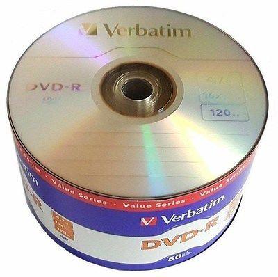 VERBATIM DVD-R 4.7GB 16X with Branded Surface -50pks