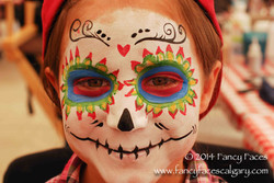 sugar skull Fancy Faces face paint calgary pink blue yellow green heart.jpg