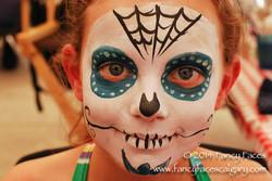 sugar skull teal eyes web face painting Fancy Faces Calgary.jpg