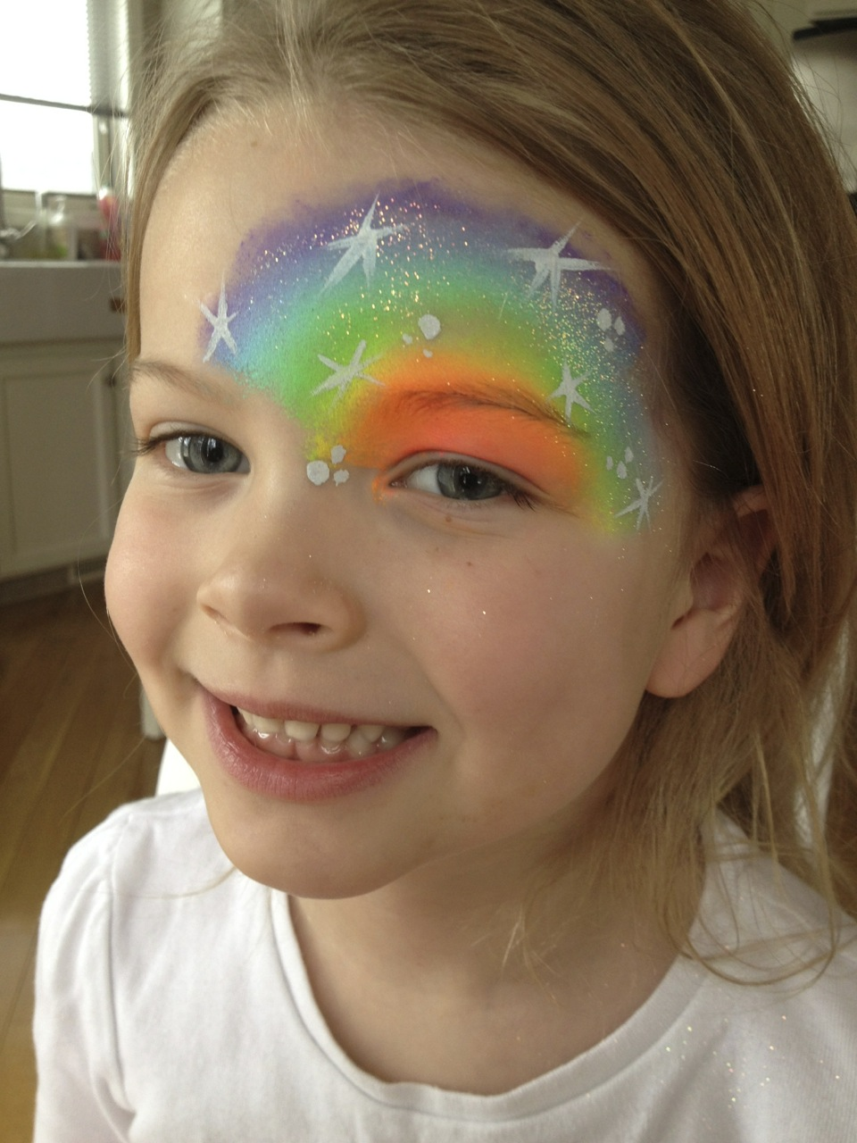 neon-rainbow-half-face-mask-fancy-faces-facepainting-calgary-white-stars-dots-gi