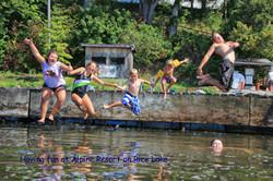 Alpine Resort kids on dock