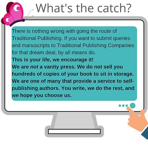 No catch. Publishing packages for the author who chooses to self-publish