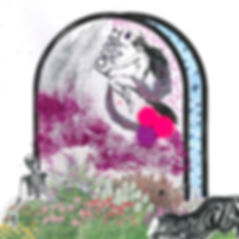 Grave decorated with a flowing garden, a flying witch, glitter, and cat