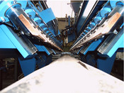 Complete fully automated welding line for longitudinal seam welding of motor housing, incl. loading clamping and welding equipment