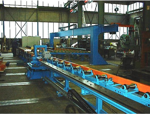 Equipment for the manufacture of sprinkler pipe, Pipe to pipe welding machine, Saw, Automatic measuring unit, Advanced groove system, Nozzle welding machine, Various roller conveyors