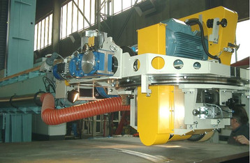 Welding Boom in heavy design equipped with universal grinding equipment