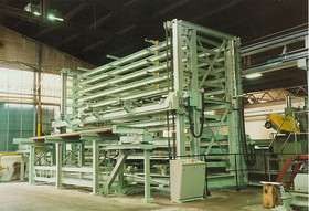 High storage rack for a complete flanged pipe production line (ship building)