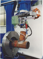 Pipe cutting and nozzle in pipe welding gantry – designed for cutting out by flame cutting of holes in pipes and for welding nozzles into pipes, equipped with 6 axes, CNC controlled