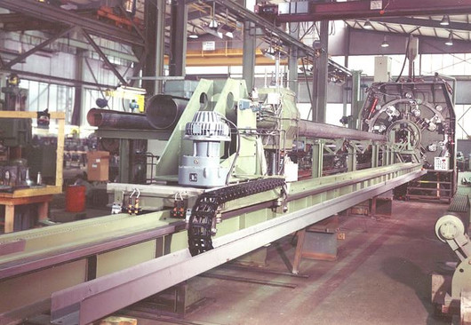 Production line for the manufacture of conical lamp posts