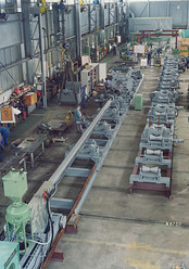 Part of a pipe production line with Column & Boom (Manipulator), boom length 12 m, for internal circumferential seam welding operations