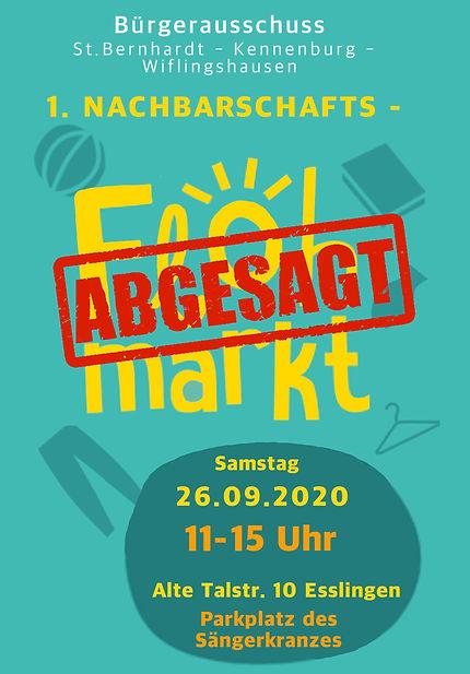 Flyer Nachbarschaftsflohmarkt Absagekl.j