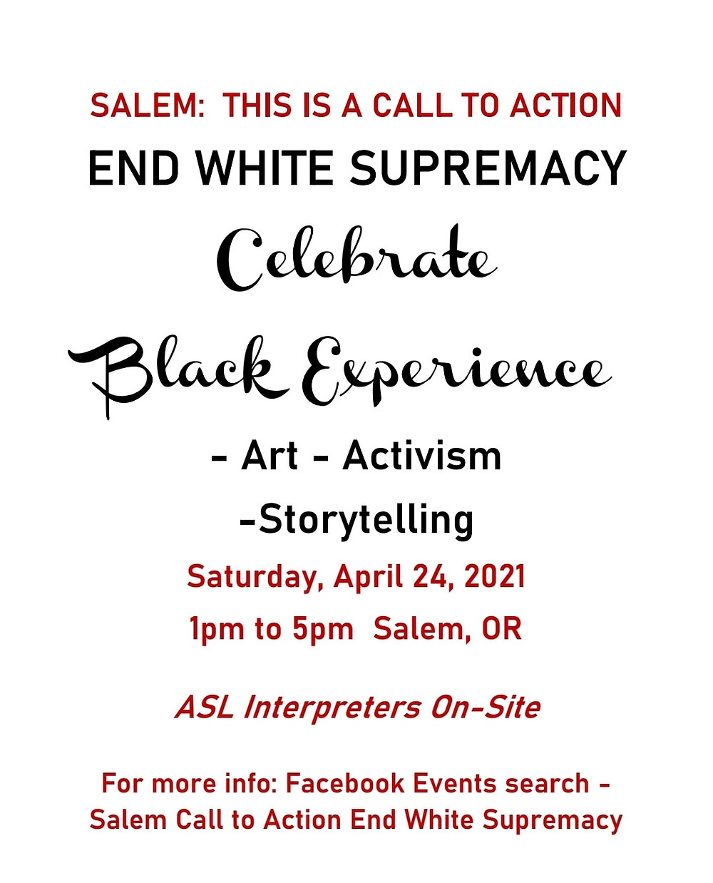 Flyer for the first Salem event Amira organized