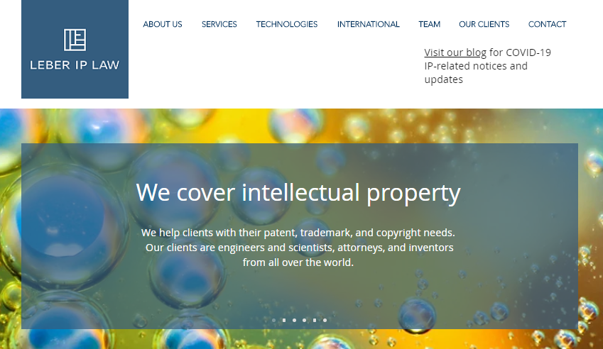 Leber IP Law website