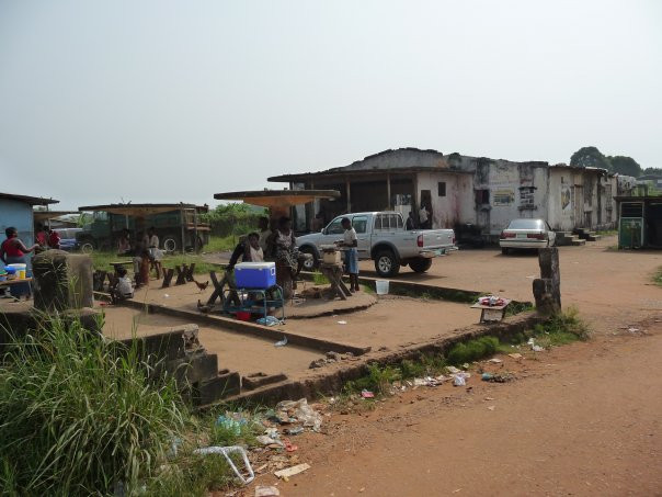 Building destroyed in Liberia, Sophie's ice cream shop