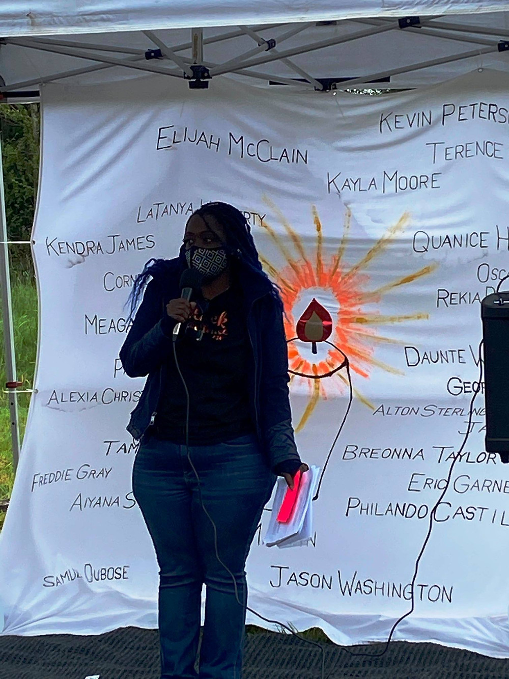 Amira the activist, at the event she organized in April