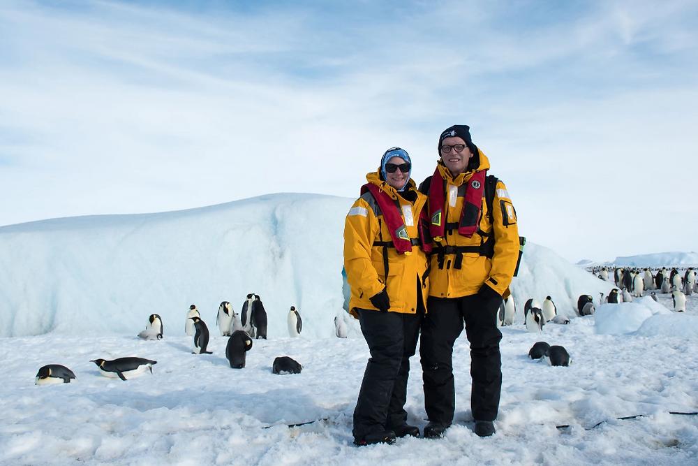 Susan and Chuck visiting penguins