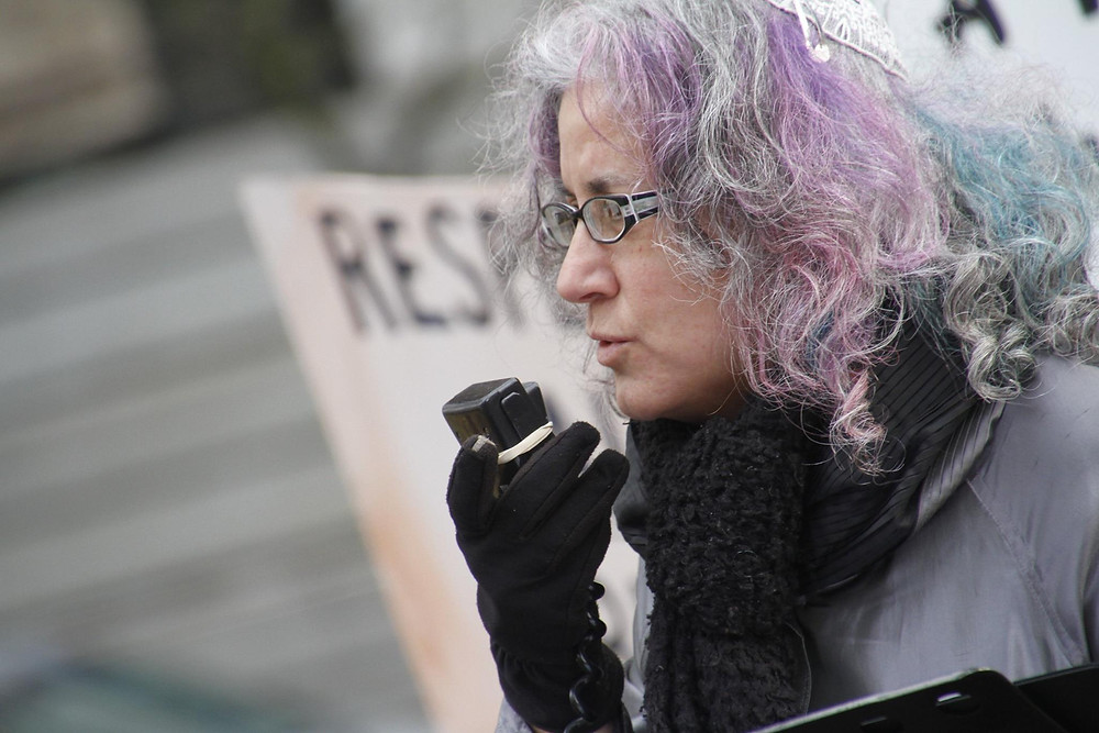 Rabbi Debra at a protest