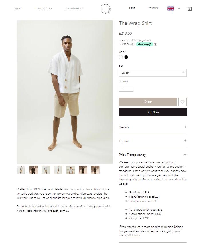 Wrap Shirt price transparency