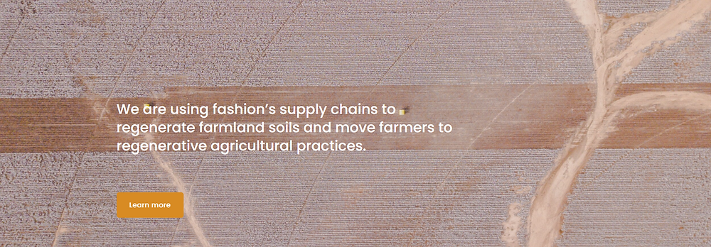 Photo of farm and statement about fashion supply chains