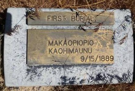 Makaopiopio's grave in Utah
