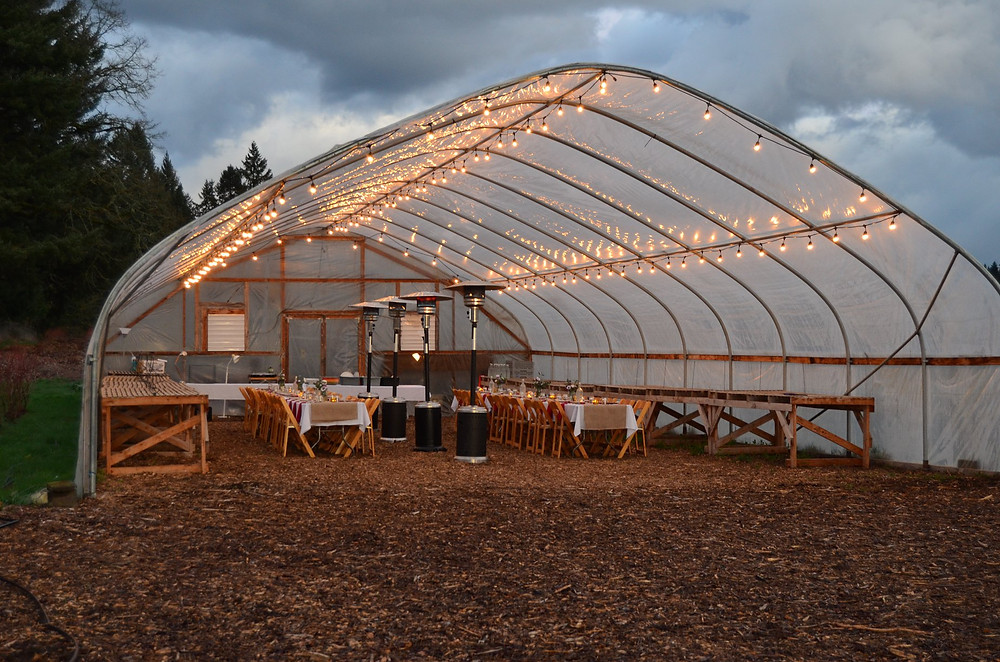 Greenhouse ready for a farm dinner