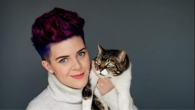 Harris with their cat