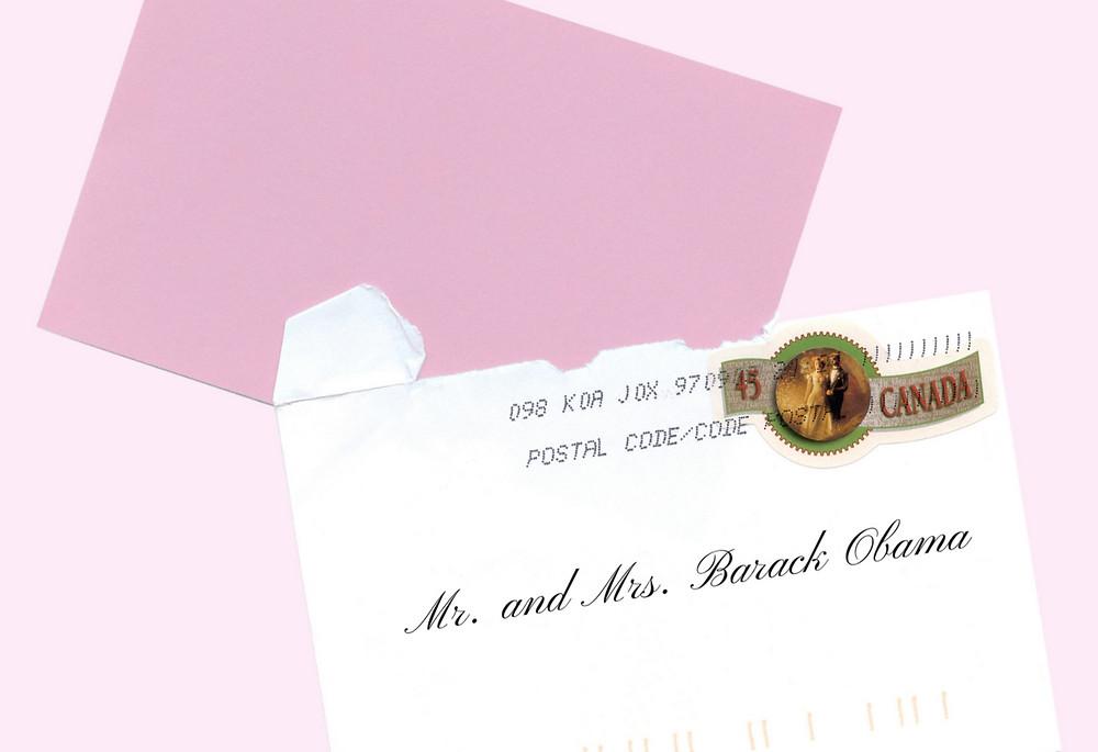 Wedding invite addressed to Mr. and Mrs. Barack Obama