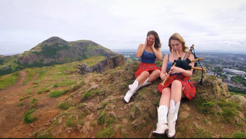 "Recording their video ""Girl Crush,"" in Scotland, a wonderful tribute to female friendship 