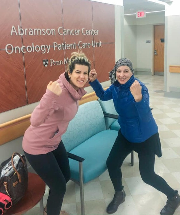 With her mom, ready to take down cancer
