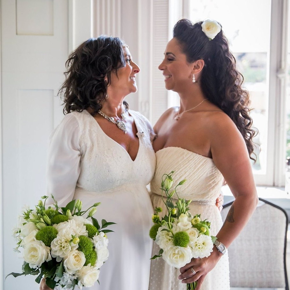 Lisa with her daughter at her wedding