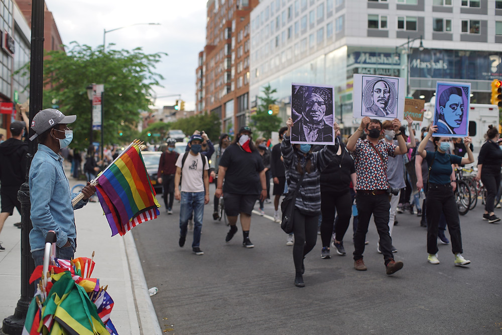 Gay pride flag waved at BLM march