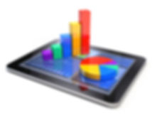 Bar graph and pie chart on tablet pc - B