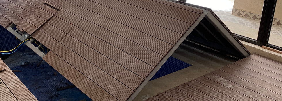 Automatic Pool Cover Kuwait Wooden Deck.